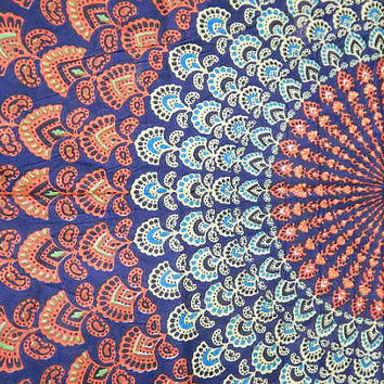 Boho Hippie Tapestry Fabric Colorful Starburst Pattern - Navy Blue