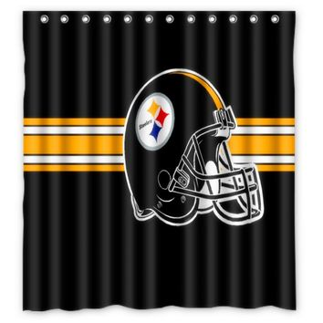 Vixm Home Pittsburgh Steelers Shower Curtains Movies Symbol Waterproof Fabric Bathroom Curtains 66x72 inch