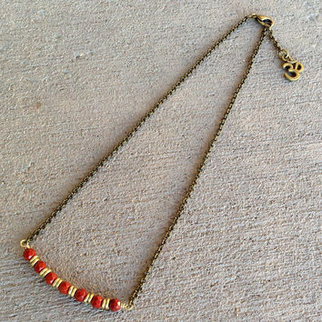 Grounding, First Chakra, Genuine Red Jasper Chain Choker, Necklace