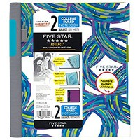 """Five Star Spiral Notebook, 2 Subject, College Ruled, 11"""" x 8-1/2"""", Advance, Circles Design (73836)"""