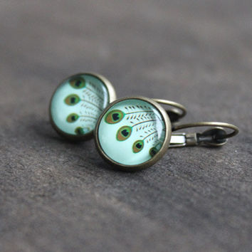 Peacock // cabochon earrings bronze, mint, light green - 14 mm - boho jewelry for girls, women