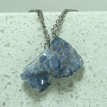 Blue Quartz druzy pendants Set of 2 gemstone pendants