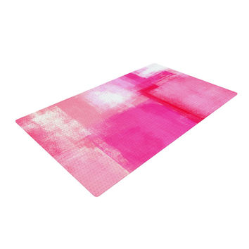 "CarolLynn Tice ""Running Late"" Pink White Woven Area Rug"