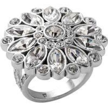 Fossil Glitz Clear Crystal Flower Statement Ring Size 8