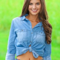 Down A Dirt Road Chambray Blouse-Light Wash