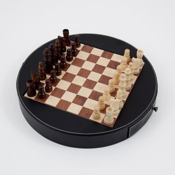 Chess Set in Wood with Black Leather