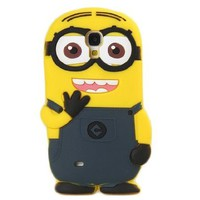 Beautiful Dark Blue Dress 3D Two Eyes Funny Little Yellow Brat Silicone Case Cover for Samsung Galaxy S4 I9500