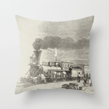Union Pacific Train  Throw Pillow by Theresa Campbell D'August Art