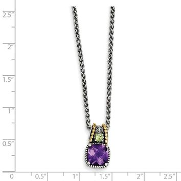 Antique Style Sterling Silver 1.85 Amethyst & .21 Peridot 18in Necklace