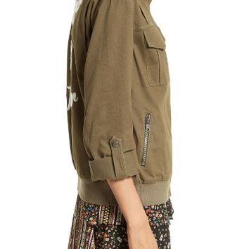 Alice + Olivia Marvis Embroidered Twill Utility Jacket | Nordstrom