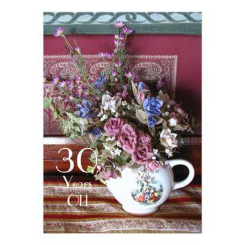 30th Birthday Party Invitation, Vintage Teapot Card