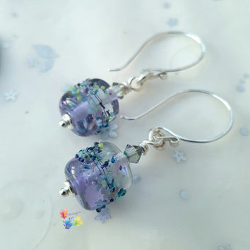 Lavender Paradise Earrings, Sterling Silver Earrings, Lampwork Jewellery, Gift for Her, Heart Earrings, Crystal Earrings, Purple Earrings