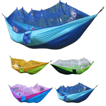 Outdoor Waterproof Portable High Strength Parachute Fabric Camping Mosquito Hammock with Mosquito Nets 260x130cm 6 Color