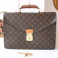 Tagre™ Louis Vuitton briefcase Monogram Authentic Vintage Handbag Purse