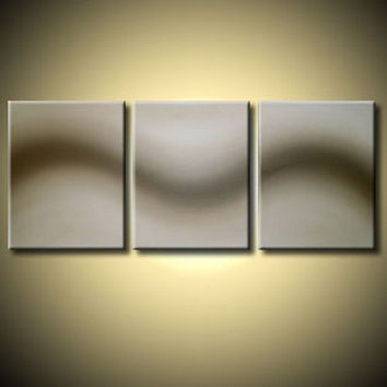 LARGE WALL ART triptych 3 panel wall contemporary cream neutral art canvas original painting abstract canvas pop wall kunst 48 x 20""
