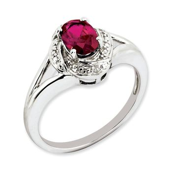 Sterling Silver Diamond & Simulated Ruby July Birthstone Ring