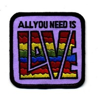 "Embroidered Iron On Patch - All you Need is Love 3"" Patch"