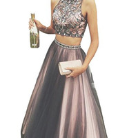 Luxury Crystal Two Piece Halter Backless Tulle Prom Dress Evening Gown