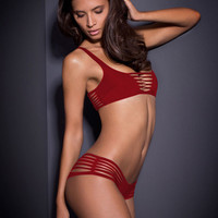 Cut-Out Spandex Bikini Swimwear in Red or Black