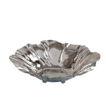 Polished Silver Flower Blossom Serving Bowl