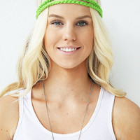 Bright Neon Green Braided Hair Band Crochet Stretch Headband Yarn Headwrap