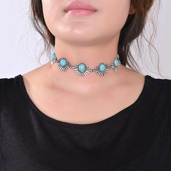 Boho Collar Choker Silver Necklace jewelry for women Fashion Ethnic style Bohemian Turquoise Beads