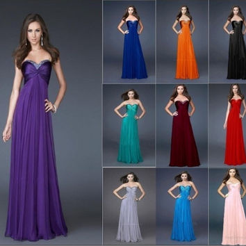 beads red white royal blue colored crystal strapless long prom gown bridesmaid dresses new fashion 2016 chiffon