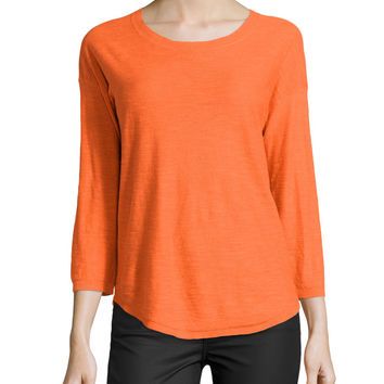 Women's 3/4-Sleeve Shirttail Sweater, Flame - Halston Heritage - Flame
