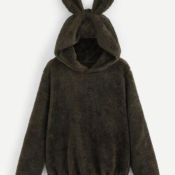 New Black Rabbit Ears Fuzzy Fur Tedd Popcorn Long Sleeve Hooded Casual Sweatshirt