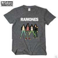 The punk Rock band T-shirt ramones With short sleeves T-shirt Men and women loose Round collar couples