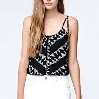 RVCA Upper Deck Cropped Cami Tank Top - Womens Shirts - Black