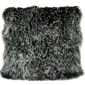Lamb Fur Pillow Large Black Snow 100% Wool Front 100% Polyester Back
