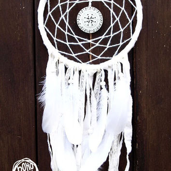 Dream Catcher - White Dreams - With White Mandala, White Feathers, Textiles and Laces - Boho Home Decor, Nursery Mobile