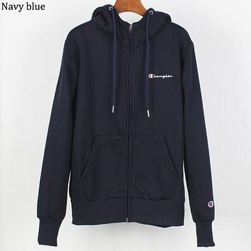 Champion autumn and winter plus velvet warm men and women hooded sweater navy blue