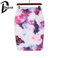 DayLook 2016 Vintage Rose Floral Print Skirts Womens Sexy Bodycon Skirt Mid-Calf Pencil Skirt Plus Size S-XXL Saia
