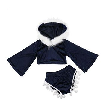 Toddler Kids Baby Girls Clothing Sets Velvet Hooded Crop Top Long Sleeve Shorts Bottoms Cute Outfits Clothes Set Girl 2-7T