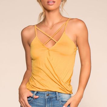 Beach Life Calling Crisscross Top - Sunflower