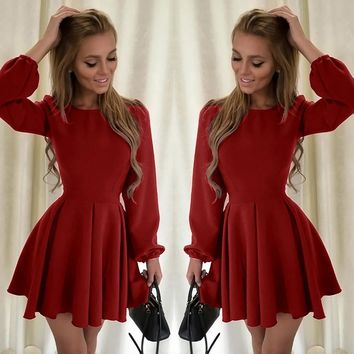 Fashion  Long Sleeve  Evening Pleated Mini Dress
