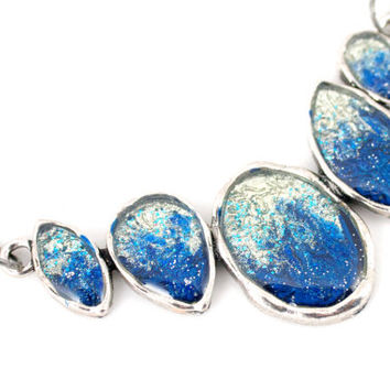 Blue and Silver Statement Necklace  Gunmetal Antique Silver Fashion Jewelry