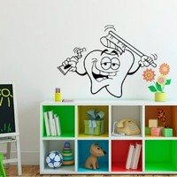 Wall Decals Tooth Vinyl Sticker Dental Decal Smiling Tooth Dental Clinics Home Decor Mural Art Design Bedroom Dorm Window Nursery Living Room Chu1301