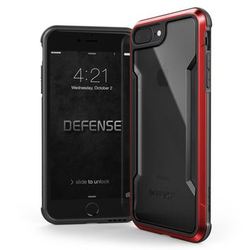 iPhone 8 Plus & iPhone 7 Plus Case, X-Doria Defense Shield Series - Military Grade Drop Tested, Anodized Aluminum, TPU, and Polycarbonate Protective Case for Apple iPhone 8 Plus & 7 Plus, (Red)