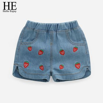 HE Hello Enjoy Girls Denim Shorts Jeans Shorts Children Clothing Summer 2018 Kids Girl Embroidery Strawberry Cowboy Shorts Pants