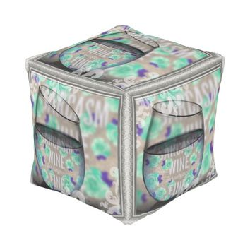 Wine and sarcasm women cubed pouf with art design cube pouf