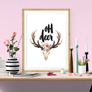 Oh Deer Print, Antler Art, Printable Wall Art, Deer Art, digital Download, Modern Wall Art, Home And Living, Fower Design, Home Decor,