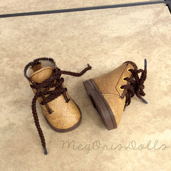 "Tan Lace Up Ankle Boots, Hiking Boots fit 16"" Disney Animator Dolls"