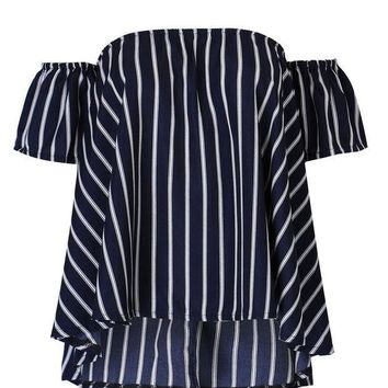 DCCKUNT Women's Navy Blue Stripes Off Shoulder T Shirts Blouse