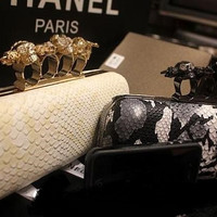 Women's Skull knuckle Ring Python Box Clutch
