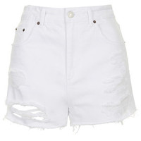 MOTO White Ripped Mom Shorts - White