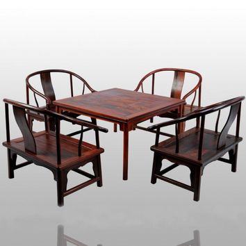 Square Tables with round legs and low Armchair 5-pieces sets Home Furniture 8 people Living/dining chair&desk set Solid Rosewood