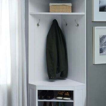 Weatherly collection white finish wood corner design mud room entry boot bench coat tree rack
